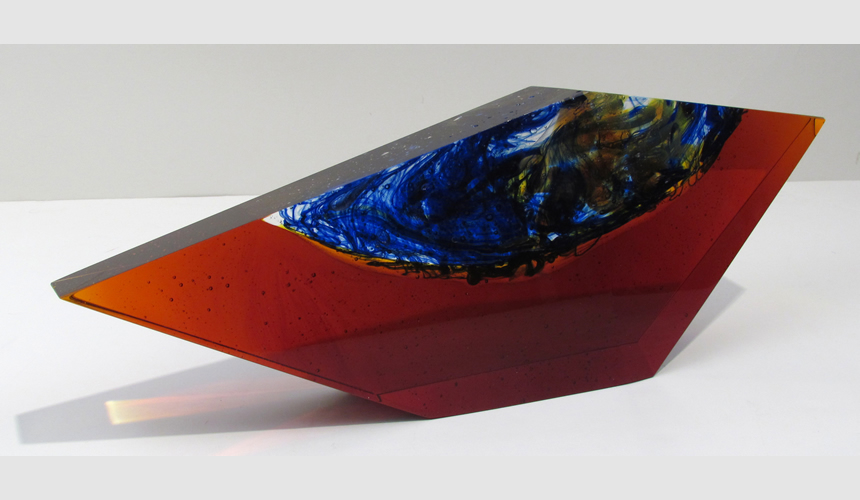 Small Dark Amber with Blue and Yellow Center, 2006