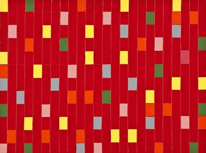 Red Grid with Colored Rectangle #2, 2012